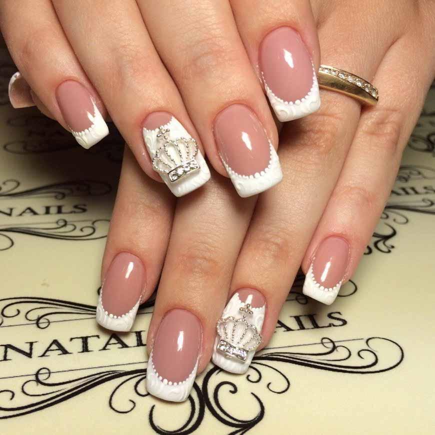 Френч на ногтях золото и серебро 100