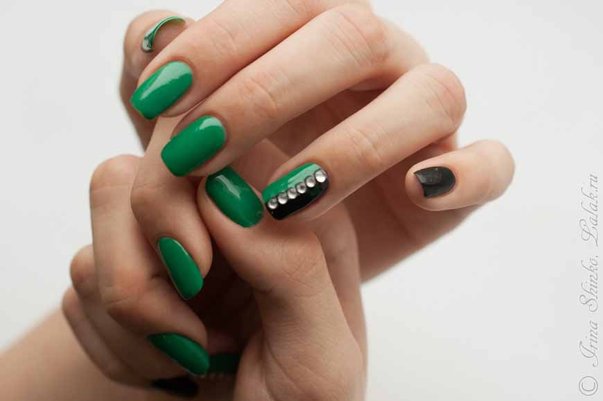 Креативные идеи маникюра в зеленом цвете