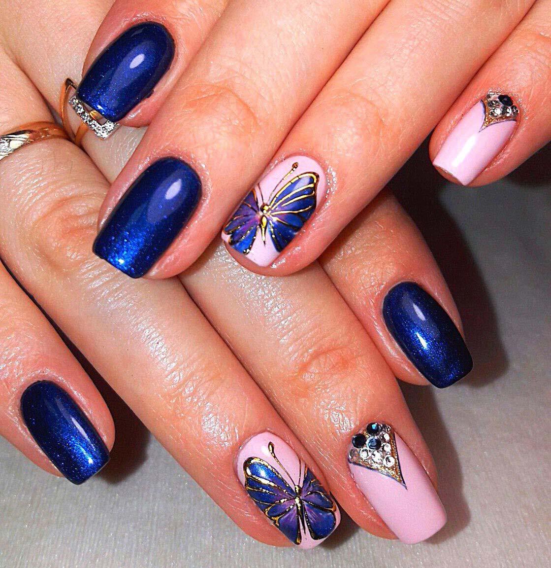 Маникюр с бабочками - 81 фото новинок дизайна ногтей