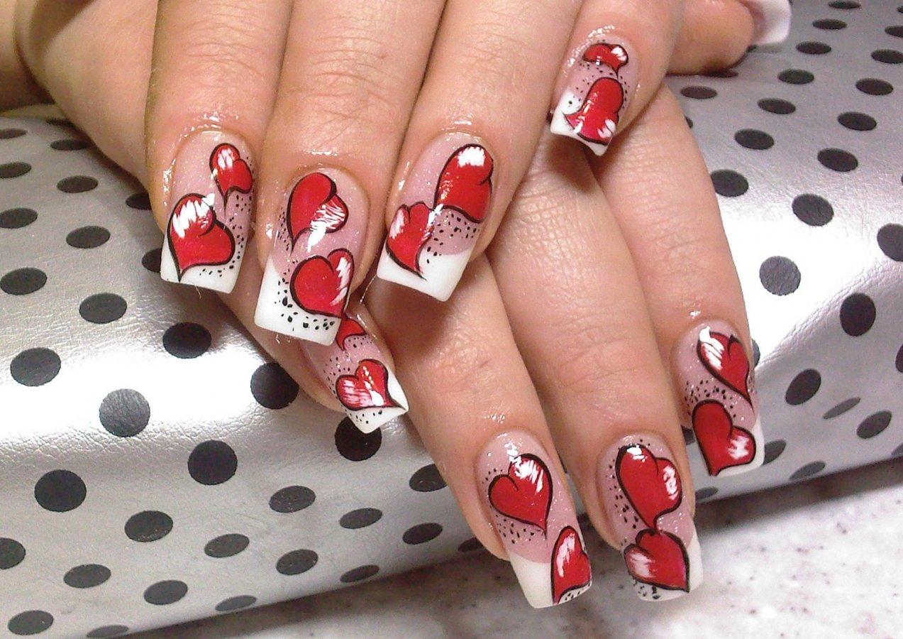 картинки красные ногти с рисунком подарила цветы подарки